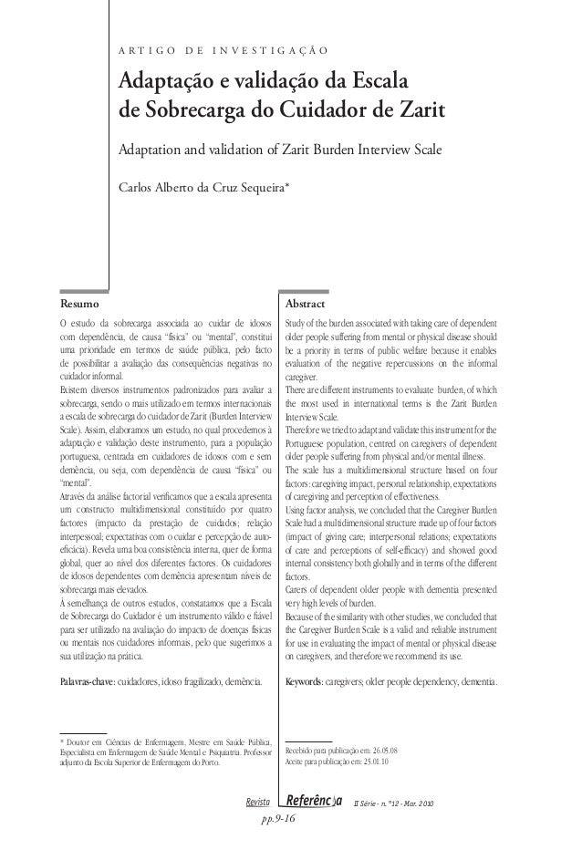 ARTIGO               DE       INVESTIGAÇÃO                  Adaptação e validação da Escala                  de Sobrecarga...