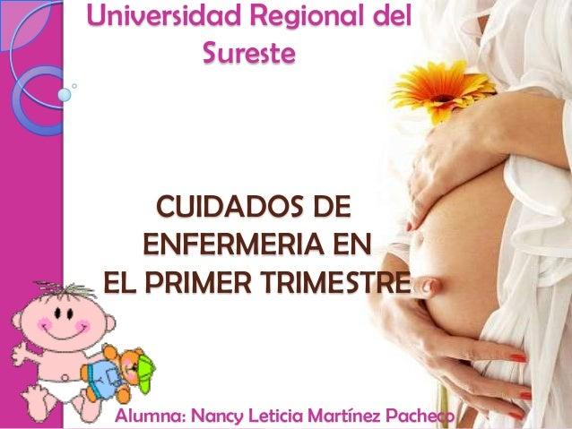 Universidad Regional del         Sureste     CUIDADOS DE    ENFERMERIA EN EL PRIMER TRIMESTRE  Alumna: Nancy Leticia Martí...