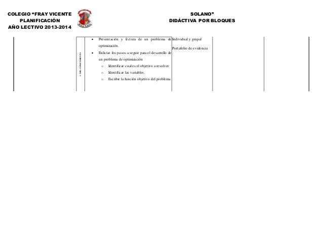 """COLEGIO """"FRAY VICENTE SOLANO"""" PLANIFICACIÓN DIDÁCTIVA POR BLOQUES AÑO LECTIVO 2013-2014 C.DELCONOCIMIENTO  Presentación y..."""
