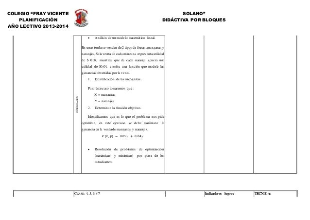 """COLEGIO """"FRAY VICENTE SOLANO"""" PLANIFICACIÓN DIDÁCTIVA POR BLOQUES AÑO LECTIVO 2013-2014 CONSOLIDACIÓN  Análisis de un mod..."""