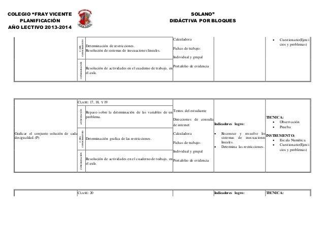 """COLEGIO """"FRAY VICENTE SOLANO"""" PLANIFICACIÓN DIDÁCTIVA POR BLOQUES AÑO LECTIVO 2013-2014 C.DEL CONOCIMIENTO Determinación d..."""