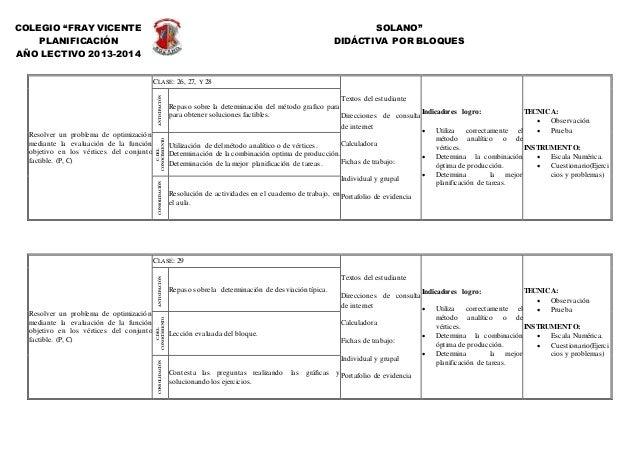 """COLEGIO """"FRAY VICENTE SOLANO"""" PLANIFICACIÓN DIDÁCTIVA POR BLOQUES AÑO LECTIVO 2013-2014 Resolver un problema de optimizaci..."""