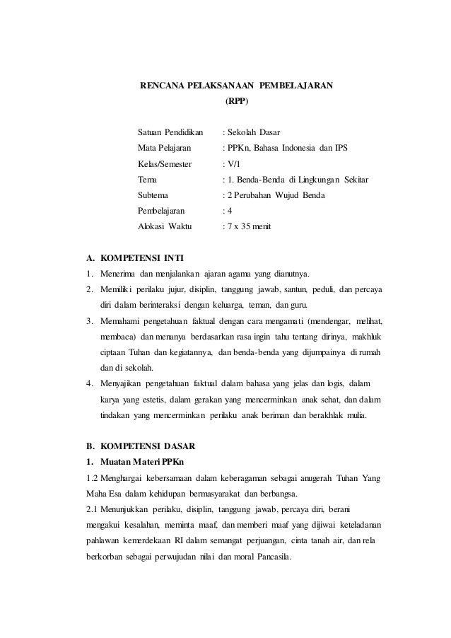 Rpp K13 Sd Kelas V Tema 1 Sub 2 Pb 4