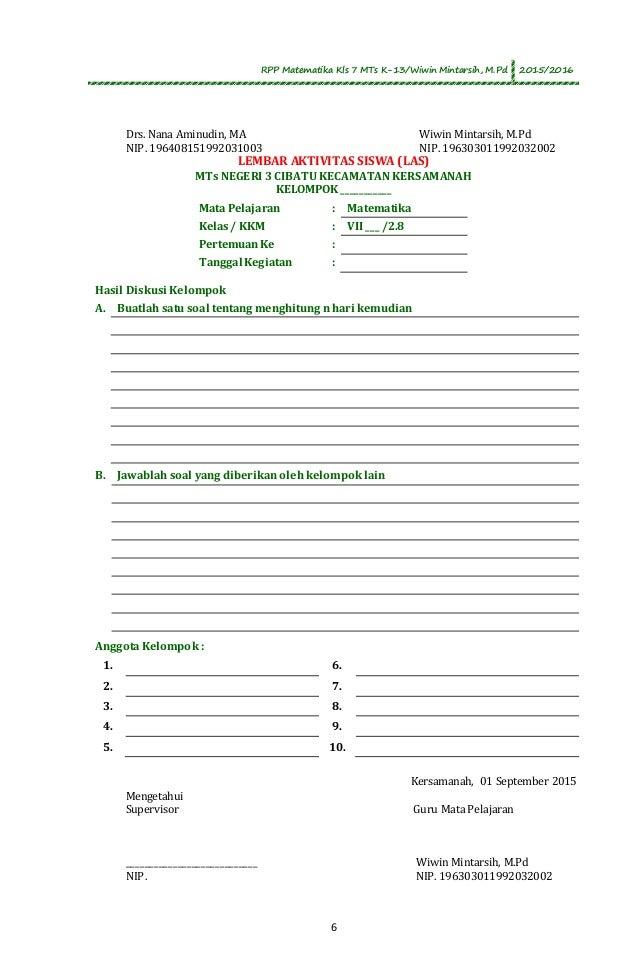 RPP Matematika Kelas 7 MTs Perkalian dan Pembagian Bilangan Bulat