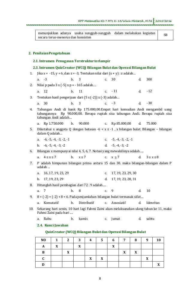 Soal Matematika Bilangan Bulat Dan Pecahan Kelas 7 Kunci Dunia