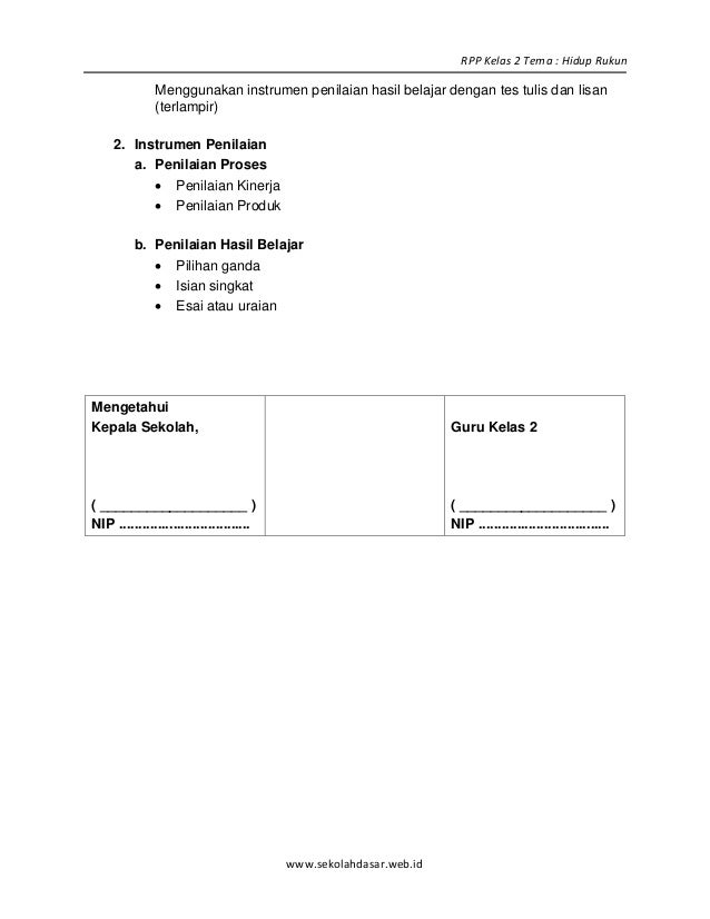 Rpp Sd Kelas 2 Semester 1 Hidup Rukun Blonya Nova