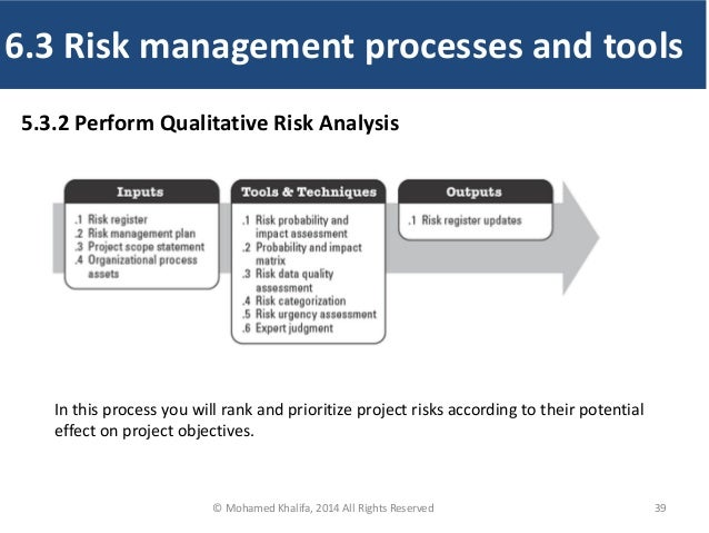 39 5.3.2 Perform Qualitative Risk Analysis In this process you will rank and prioritize project risks according to their p...