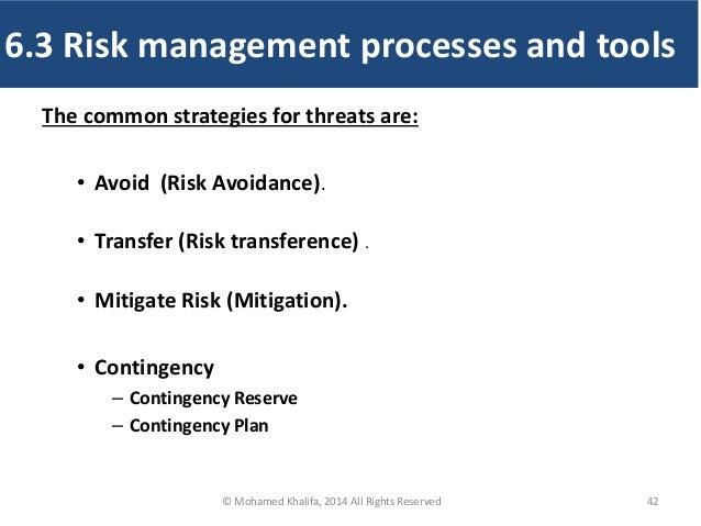 The common strategies for threats are: • Avoid (Risk Avoidance). • Transfer (Risk transference) . • Mitigate Risk (Mitigat...