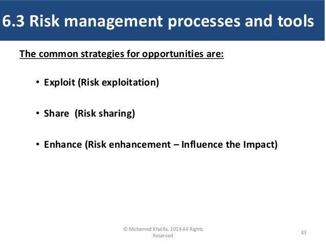 The common strategies for opportunities are: • Exploit (Risk exploitation) • Share (Risk sharing) • Enhance (Risk enhancem...