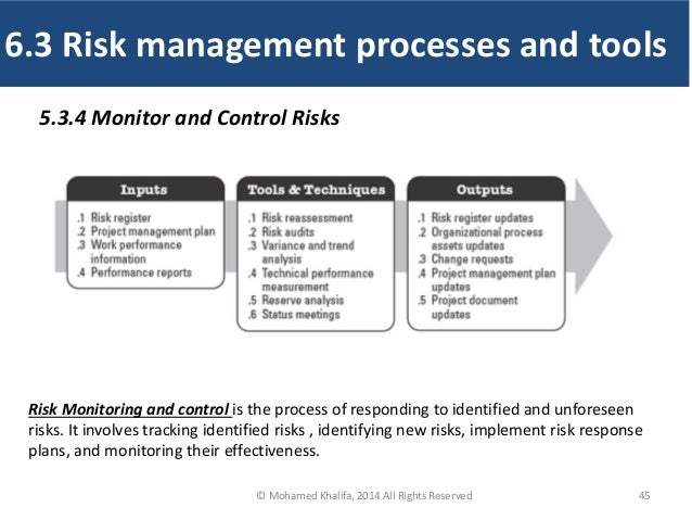 45 5.3.4 Monitor and Control Risks Risk Monitoring and control is the process of responding to identified and unforeseen r...
