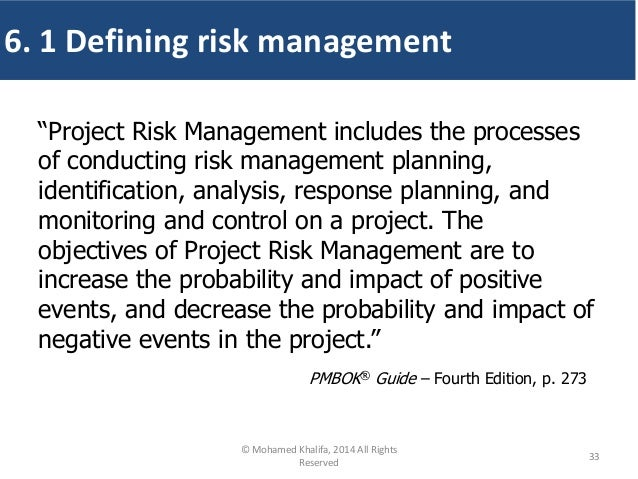 """""""Project Risk Management includes the processes of conducting risk management planning, identification, analysis, response..."""