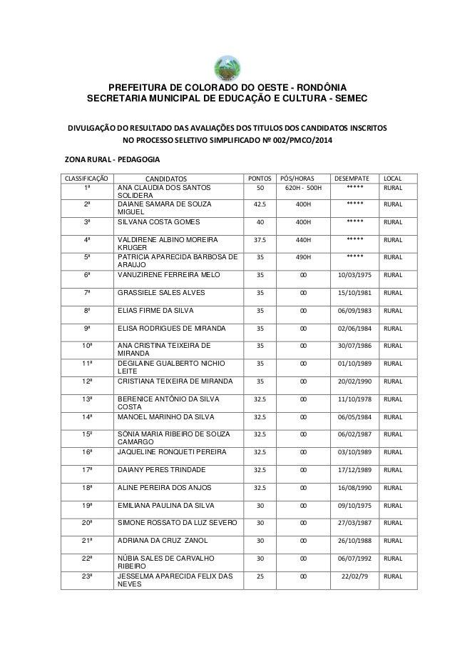 PREFEITURA DE COLORADO DO OESTE - RONDÔNIA SECRETARIA MUNICIPAL DE EDUCAÇÃO E CULTURA - SEMEC DIVULGAÇÃO DO RESULTADO DAS ...