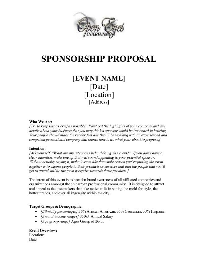Good SPONSORSHIP PROPOSAL [EVENT NAME] [Date] [Location] [Address] Who ...  Example Of A Sponsorship Proposal