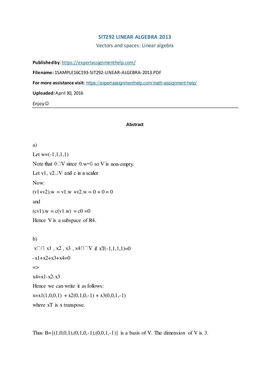 SIT292 Linear Algebra 2013