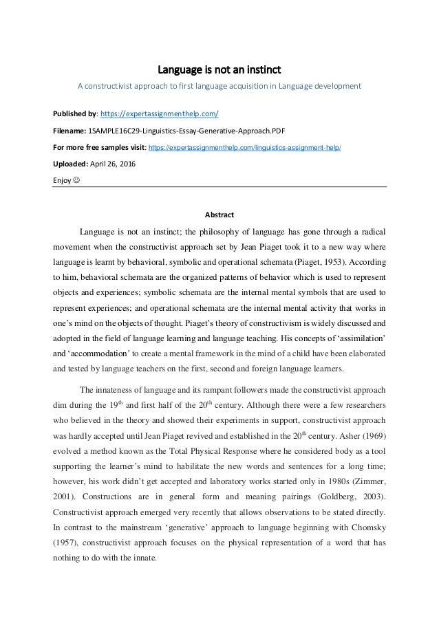 essay on constructivist approach to first language acquisition language is not an instinct a constructivist approach to first language acquisition in language development published essay