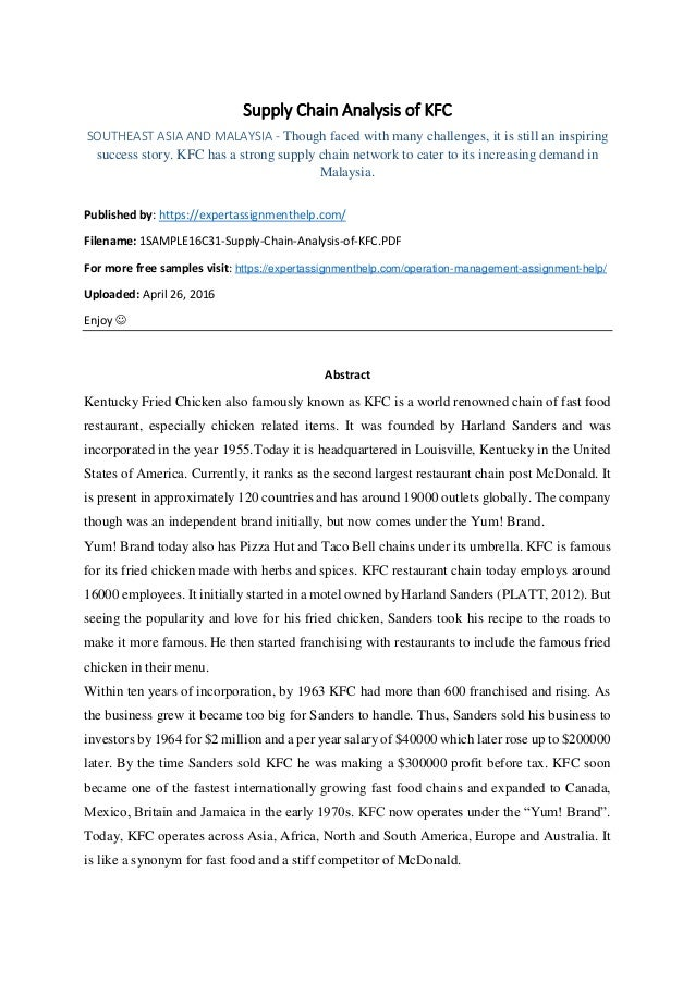 Research Report on Supply Chain Analysis of KFC in Asia