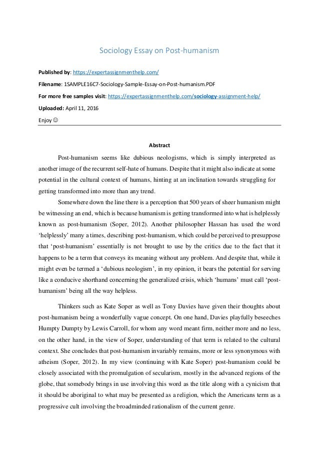 sociology critical analysis essay on post humanism sociology essay on post humanism published by expertassignmenthelp com sociology critical analysis essay