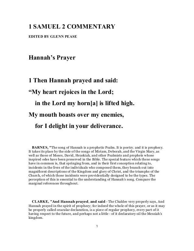 1 SAMUEL 2 COMMENTARY EDITED BY GLENN PEASE Hannahs Prayer Then Hannah Prayed And Said