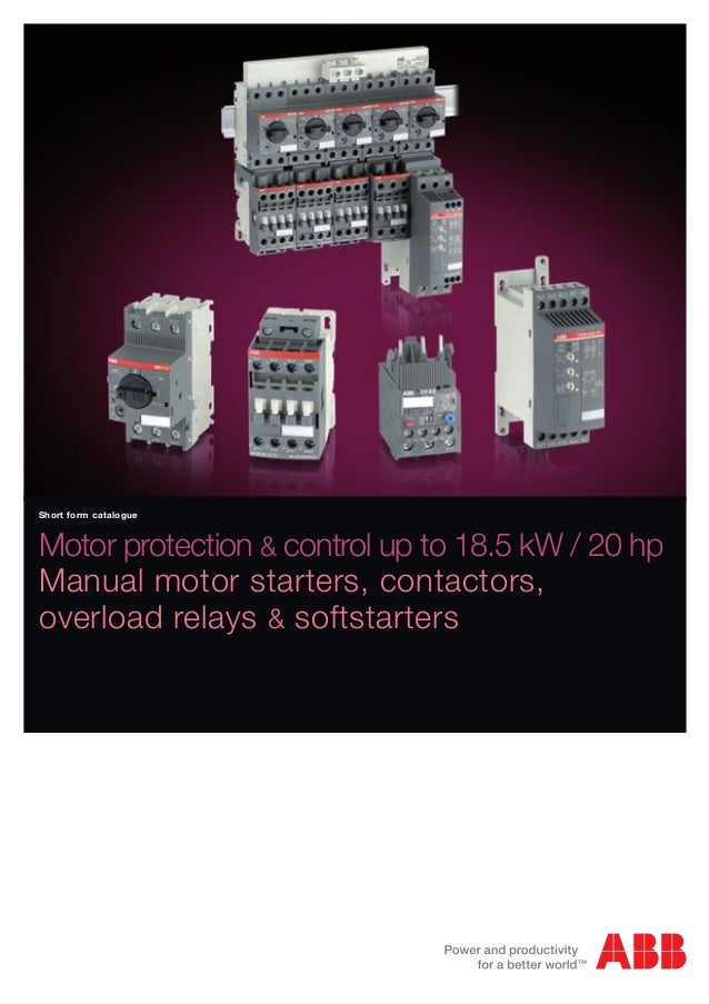 Contactores abb for Manual motor starter with overload protection