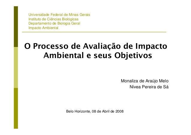 Universidade Federal de Minas Gerais Instituto de Ciências Biológicas Departamento de Biologia Geral Impacto Ambiental O P...
