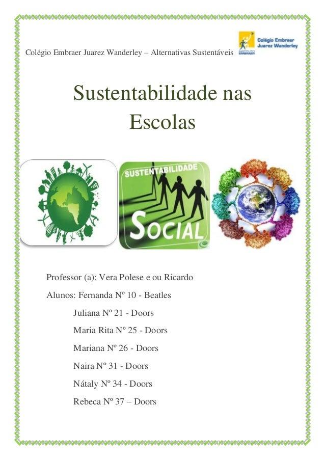 Colégio Embraer Juarez Wanderley – Alternativas Sustentáveis Sustentabilidade nas Escolas Professor (a): Vera Polese e ou ...