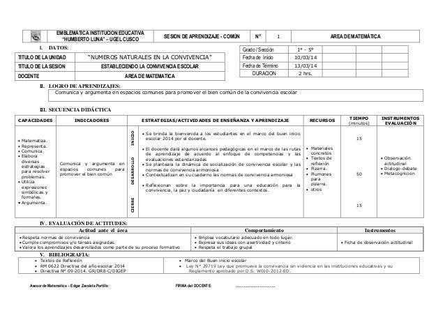 "EMBLEMÁTICA INSTITUCION EDUCATIVA ""HUMBERTO LUNA"" – UGEL CUSCO  I.  SESION DE APRENDIZAJE - COMÚN  DATOS:  N°  AREA DE MAT..."