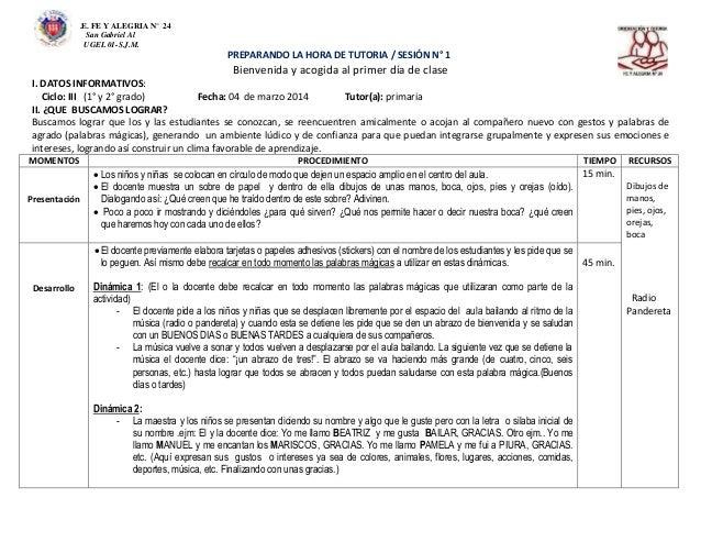 .E. FE Y ALEGRIA N° 24 San Gabriel Al UGEL 01-S.J.M. PREPARANDO LA HORA DE TUTORIA / SESIÓN N° 1 Bienvenida y acogida al p...