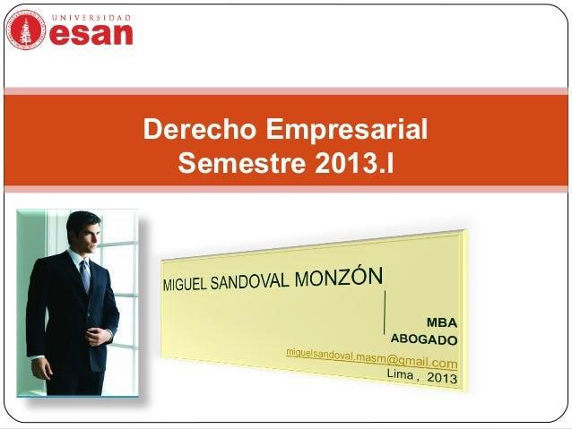Derecho Empresarial Semestre 2013.I