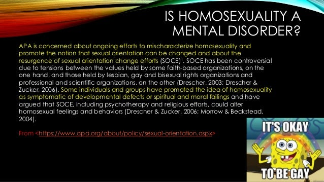 Homosexuality classified as disorder
