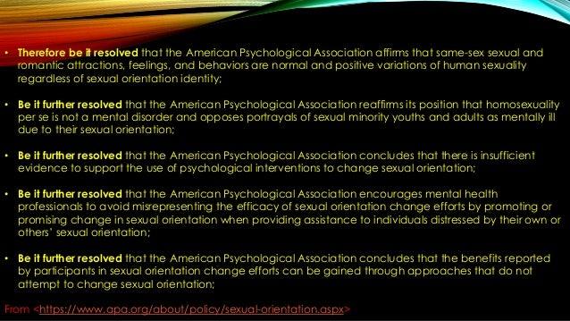 Apa Position On Sexual Orientation