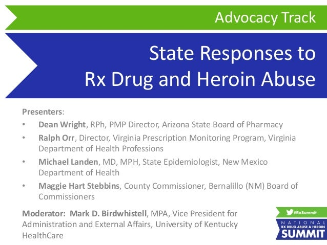 State Responses to Rx Drug and Heroin Abuse Presenters: • Dean Wright, RPh, PMP Director, Arizona State Board of Pharmacy ...