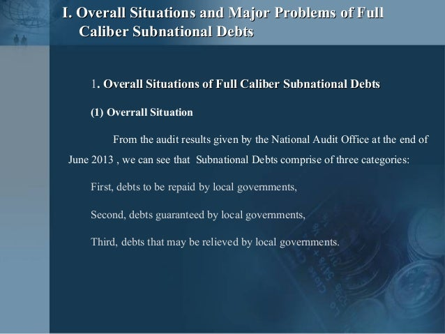 China's Subnational Debts:  Problems and Suggestions: Liu Shangxi, Research Institute for Fiscal Science, Ministry of Finance, China Slide 3