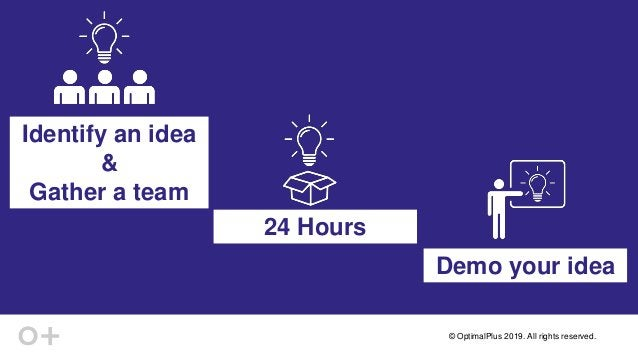 © OptimalPlus 2019. All rights reserved. 24 Hours Identify an idea & Gather a team Demo your idea