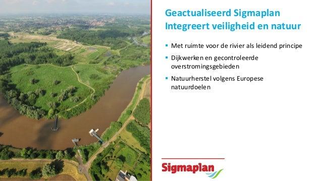 Geactualiseerd Sigmaplan Integreert veiligheid en natuur  Met ruimte voor de rivier als leidend principe  Dijkwerken en ...