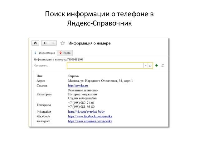 Поиск информации о телефоне в Яндекс-Справочник