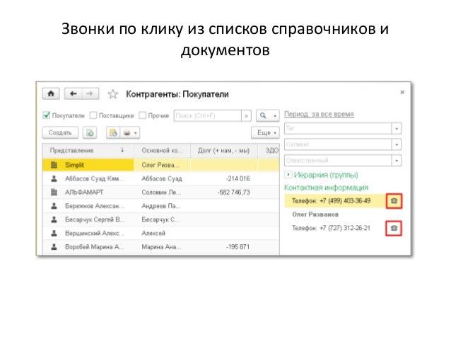 Звонки по клику из списков справочников и документов