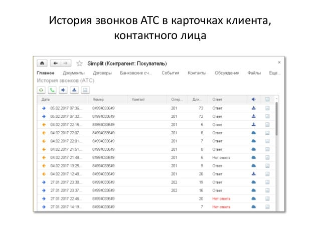 История звонков АТС в карточках клиента, контактного лица