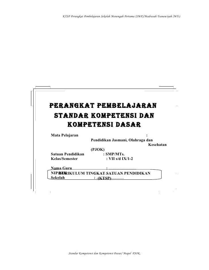 KTSP Perangkat Pembelajaran Sekolah Menengah Pertama (SMP)/Madrasah Tsanawiyah (MTs)PERANGKAT PEMBELAJARAN STANDAR KOMPETE...