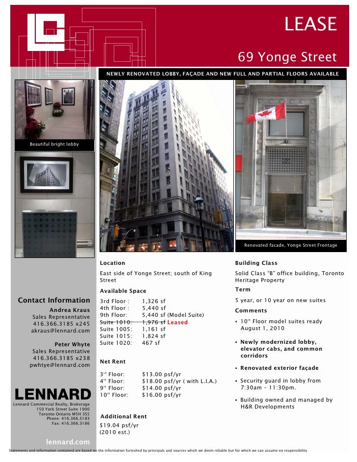 LEASE 69 Yonge Street NEWLY RENOVATED LOBBY FAADE AND NEW FULL PARTIAL FLOORS AVAILABLE Beautiful Bright Lobby Renovated Facade Frontage