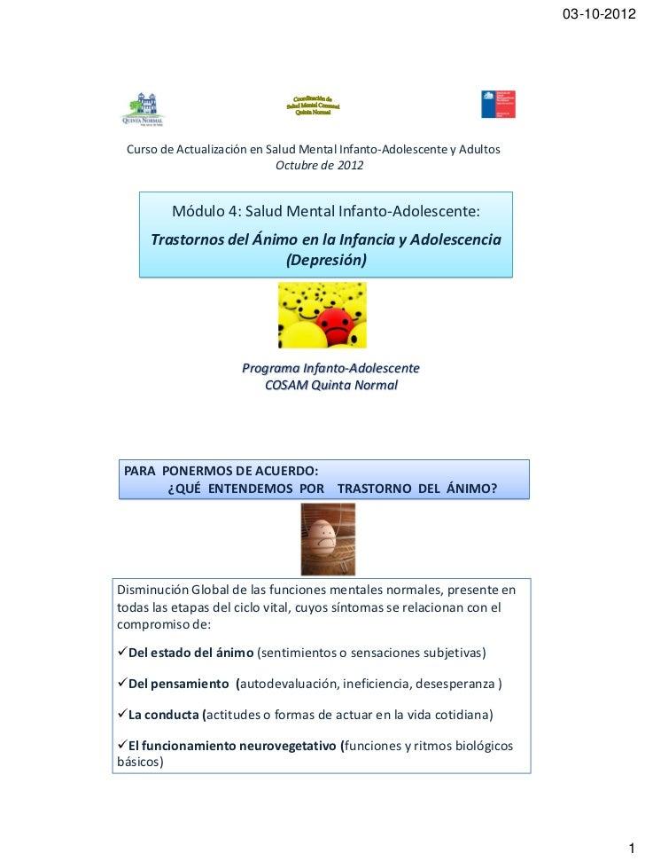 03-10-2012 Curso de Actualización en Salud Mental Infanto-Adolescente y Adultos                             Octubre de 201...
