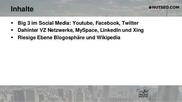 Inhalte  Big 3 im Social Media: Youtube, Facebook, Twitter  Dahinter VZ Netzwerke, MySpace, LinkedIn und Xing  Riesige ...
