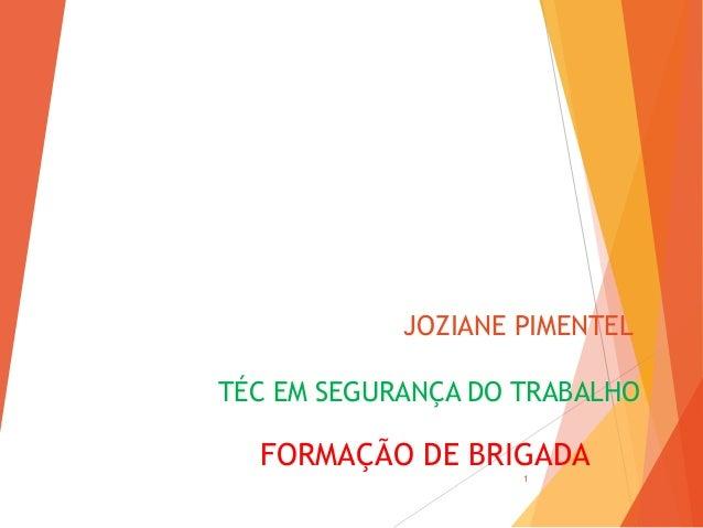 JOZIANE PIMENTEL TÉC EM SEGURANÇA DO TRABALHO FORMAÇÃO DE BRIGADA 1