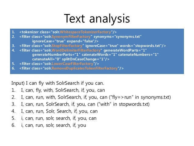 """Text analysis1.   <tokenizer class=""""solr.WhitespaceTokenizerFactory""""/>2.   <filter class=""""solr.SynonymFilterFactory"""" synon..."""