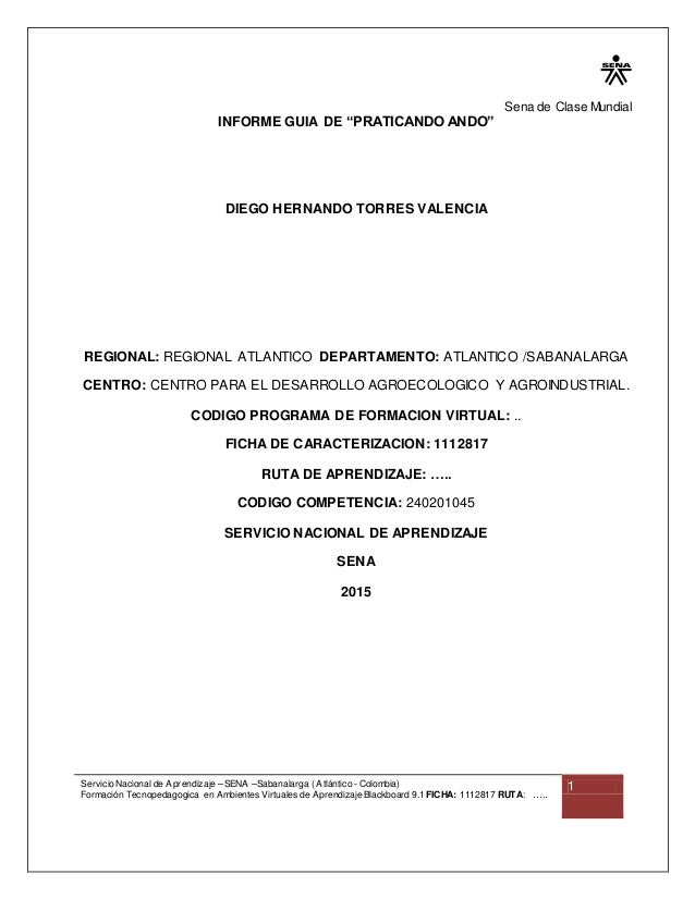 Sena de Clase Mundial Servicio Nacional de Aprendizaje – SENA –Sabanalarga ( Atlántico - Colombia) Formación Tecnopedagogi...