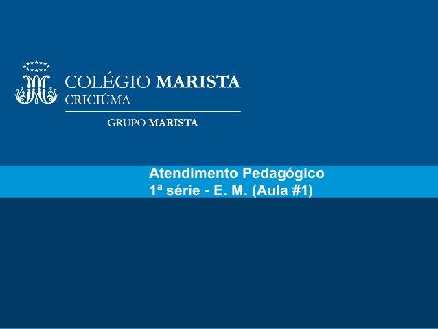 1Atendimento Pedagógico1ª série - E. M. (Aula #1)