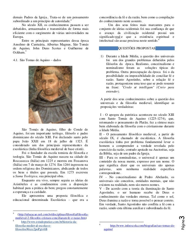 1ª Série Filosofia Medieval