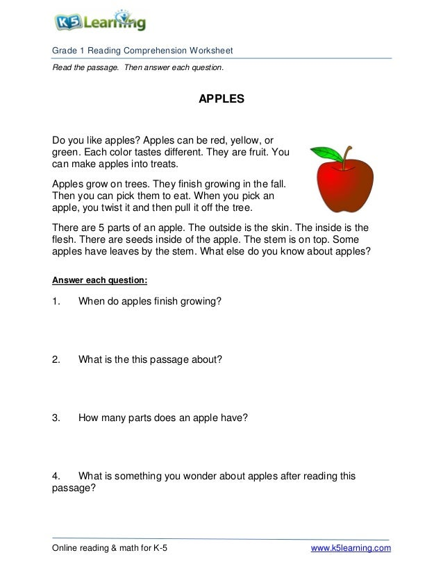 1st Grade 1 Reading Apples