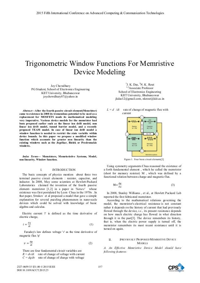 Trigonometric Window Functions For Memristive Device Modeling Joy Chowdhury PG Student, School of Electronics Engineering ...
