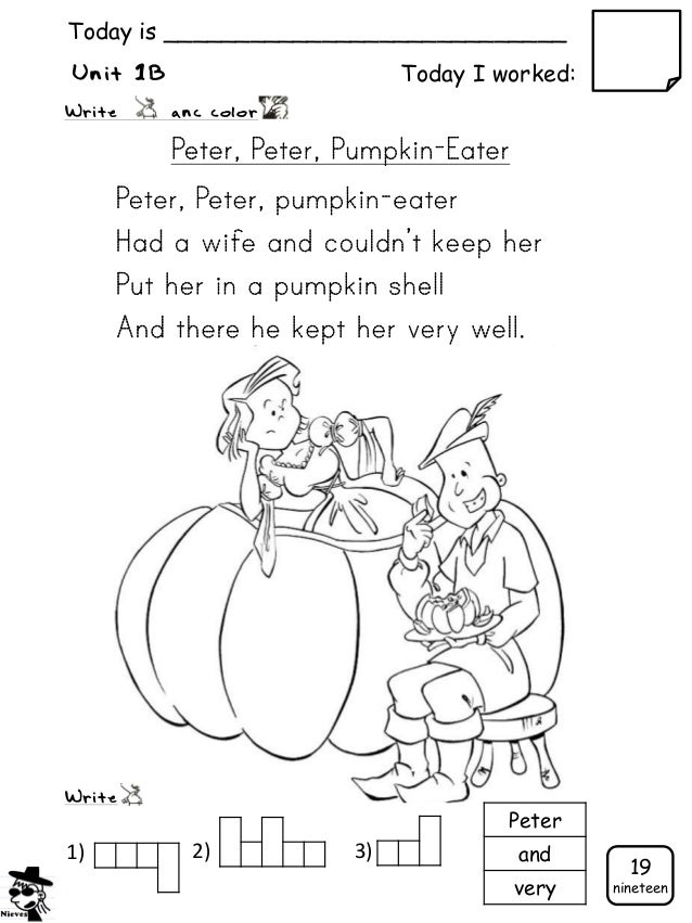 Cycle 1 Booklet Pumpkin Eater Coloring Page