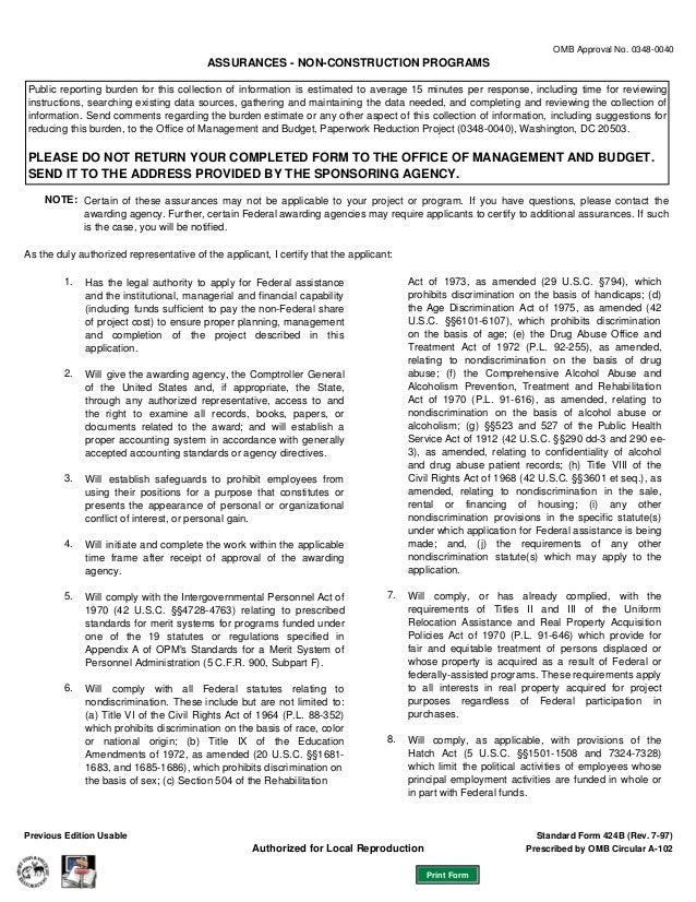 Federal Grants Standard Assurances Form Sf